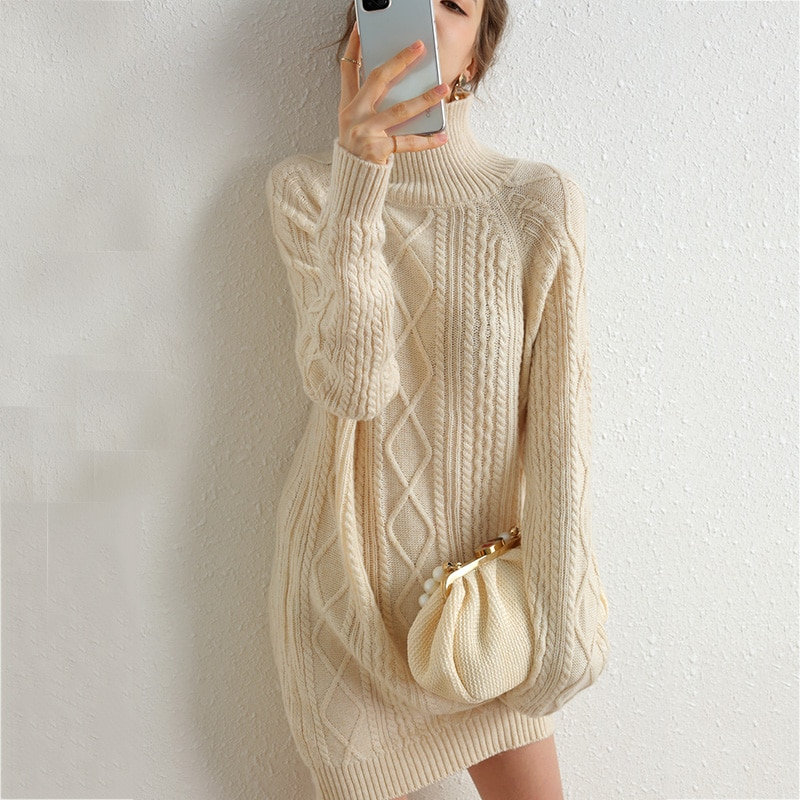 Long Sweater Dress Women Turtleneck Autumn Thick Pullover Knitted | 7ICI