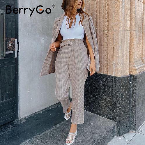 BerryGo Fashion Plaid Women Blazer Suits Long Sleeve Single-Breasted