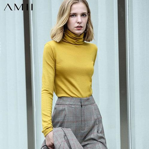 Amii Spring Women's Turtleneck Solid Colour Full Sleeve  Slim