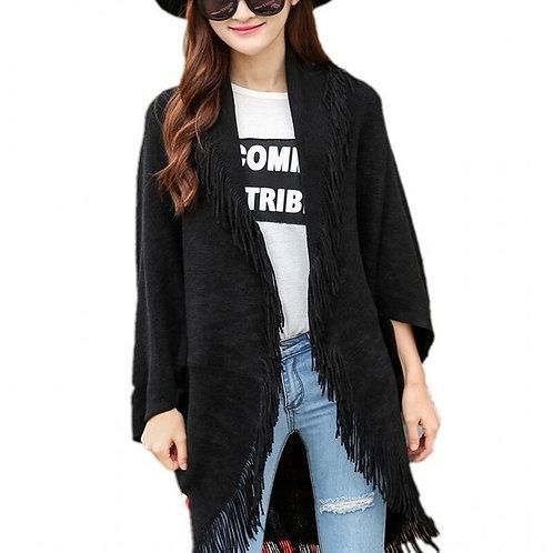 New Maxi Size Cardigan Women Tassel  Open Stitch Knitted  Gilet