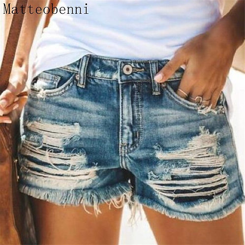 2020 Summer Denim Short Jeans Women Sexy Mid Waist Hole Ripped