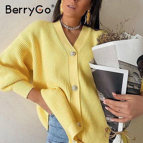 BerryGo Casual V-Neck Knitted Kimono Cardigan Women Autumn