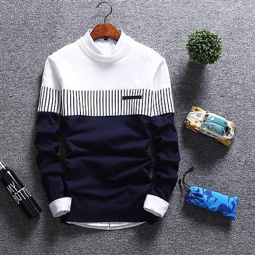 2020 New Men's Autumn Winter Pullover Wool Slim Fit Striped