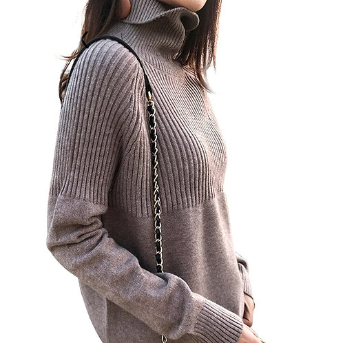 Loose Casual Rib Splicing High Collar Women Sweater Pullover