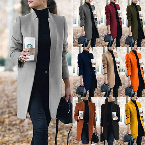 Autumn/Winter New Eur and US Fashion Cardigan Solid Stand Collar Woemn