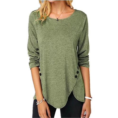 Irregular Casual Cotton Tshirts Women Long Sleeve Button T-Shirts