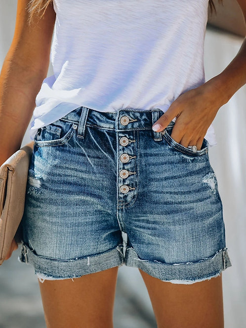 High Waist Crimping Women Short Jeans Summer Fashion Sexy Ripped