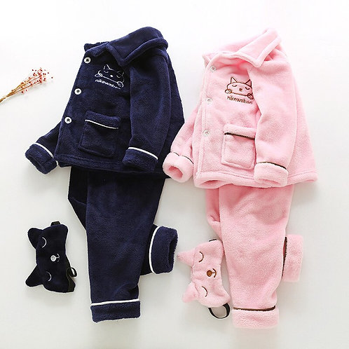 Long Length Baby Flannel Pajama Set With Eye Patch Embroidery