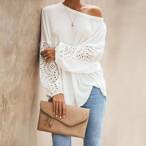 Sexy One Off Shoulder Knitted Pullover Sweaters Casual White