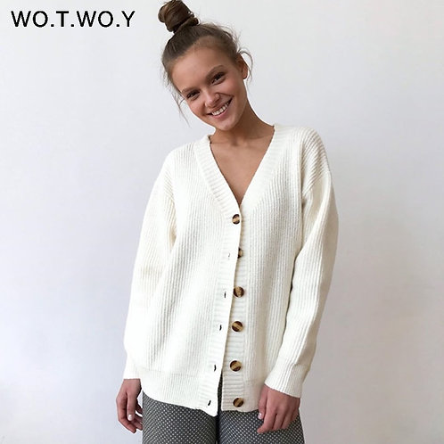 WOTWOY Single Breasted V-Neck Cotton Cardigan Women