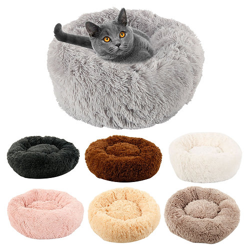 Hot Long Plush Dog Bed Winter Warm Round Sleeping Beds Soild