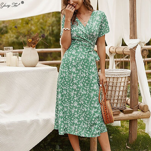 Autumn Green Short Sleeve Casual Dress Women Elegant Floral
