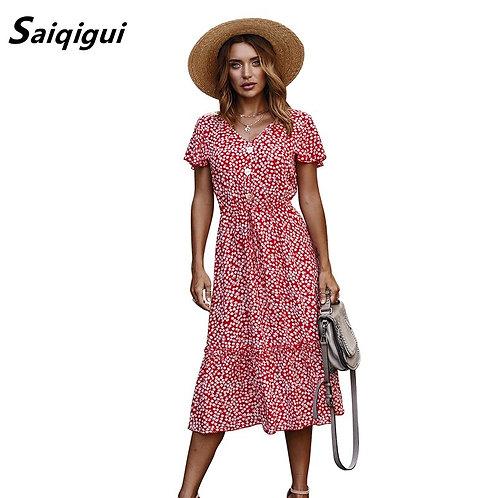 Fashion Summer Dress Women Ruffle High Waist Vintage