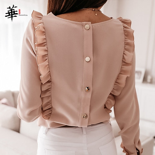 Elegant Ruffles Blouse Women 2020 O-Neck Long Sleeve Blouse