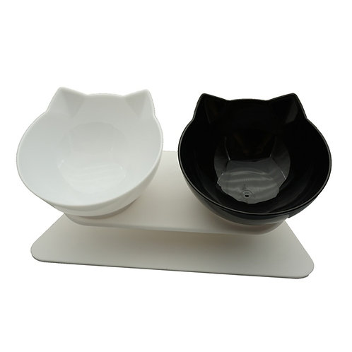 Non-Slip Double Cat Bowl Dog Bowl With Stand Pet Feeding Cat