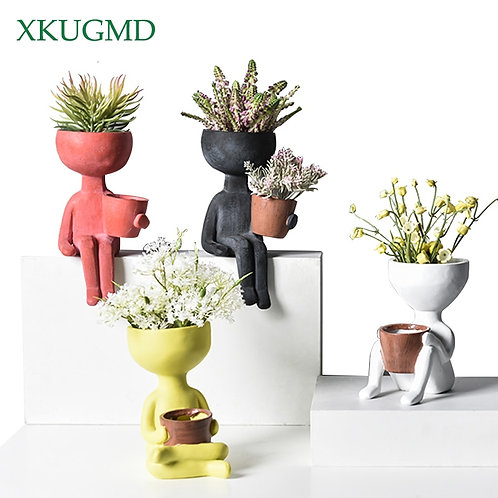 Humanoid Ceramic Flower Pot Character Sitting Posture Sculpture