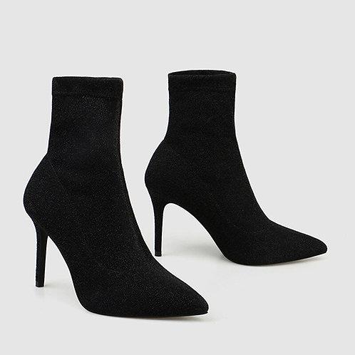 2020 Luxury Women Boots Black Silver Sock Boots High Heels