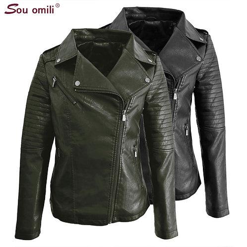 6xl-9xl Plus Size Leather Jacket Women Black /Grenn Coat Moto