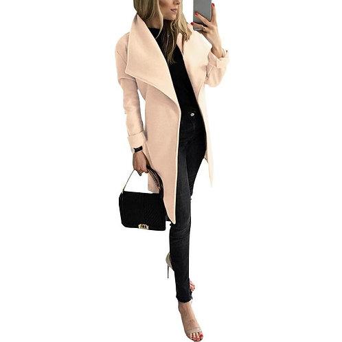 Winter Woolen Warm Overcoat Women Belt Popular Polyester