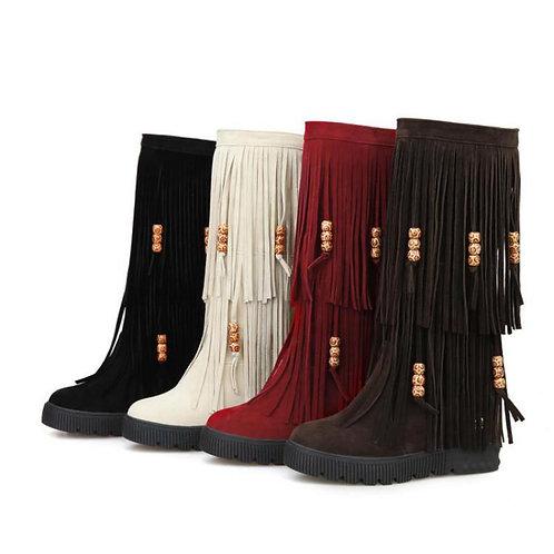 2018 Winter New Women's High Boots Fashion Tassel Comfortable Women's Boots