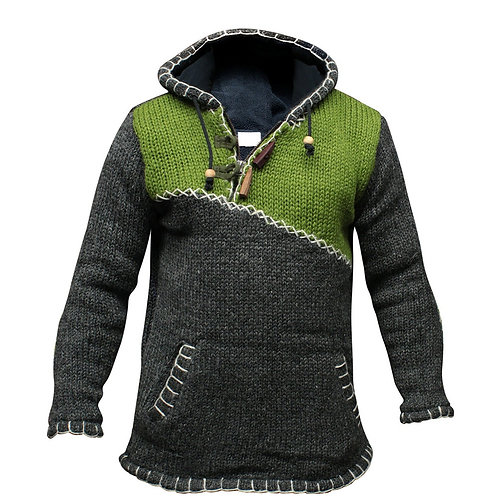 Knitted Sweater Men Hoodie Pullover Jumper Streetwear Cropped Fall Winter