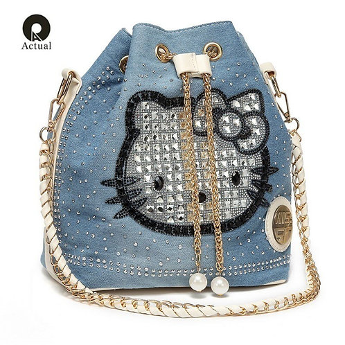 New Pattern Fashion Bucket Denim Bag High Quality Handbags Kitty