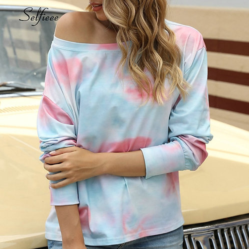 New Summer Loose Sexy Tie Dye Print Short Sleeve T Shirt