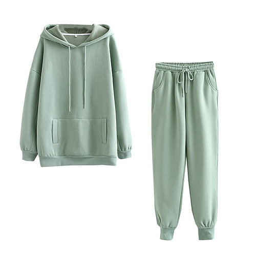 Tangada 2020 Autumn Winter Women Thick Fleece 100% Cotton Suit 2 Pieces