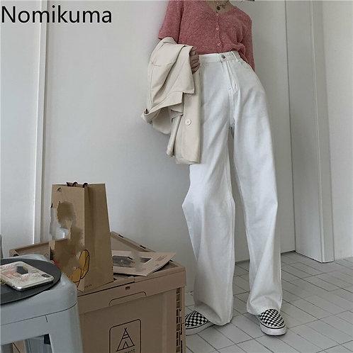 Nomikuma Korean High Waist Demin Long Pants 2020 Autumn