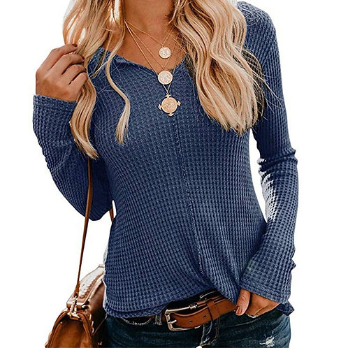 2020 Autumn Long Sleeve Casual Women's Tops and Blouses Solid