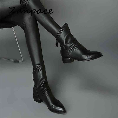 2020 High Quality Leather Boots Winter Black Ankle Boots for Women Autumn