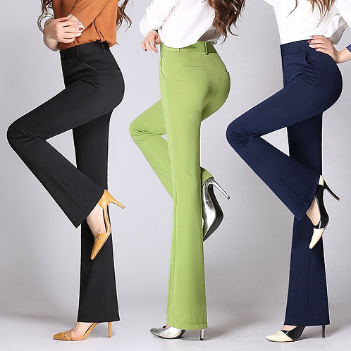 Flare Pants Women 2019 Autumn High Waist Elastic Slim Candy