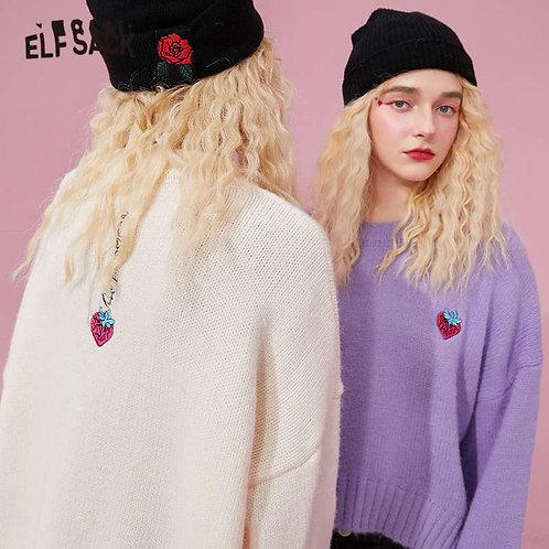 ELFSACK Strawberry Embroidery Korean Women Knit Pullovers