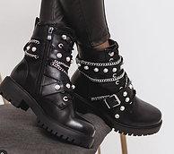 Winter Boots Women Pearl + Chain Bead Bling Boots Women's Zipper