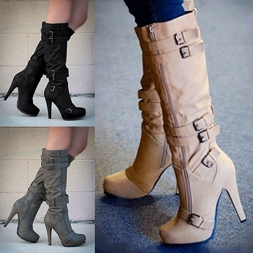Women High Heel Autumn Mid Calf Boots Female Zip PU Leather