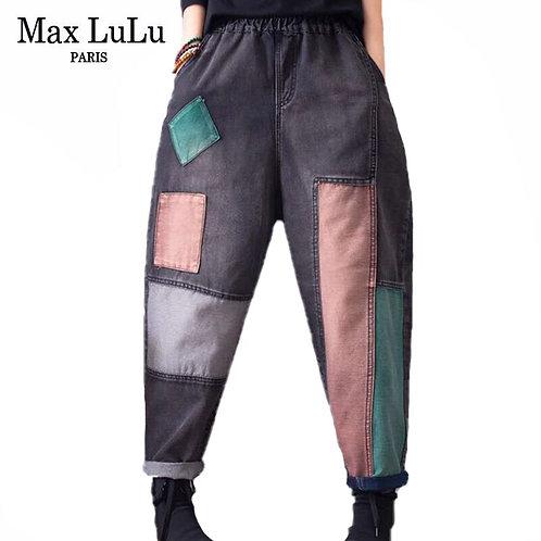 Max LuLu Autumn Chinese Fashion Designer Denim Trousers Ladies