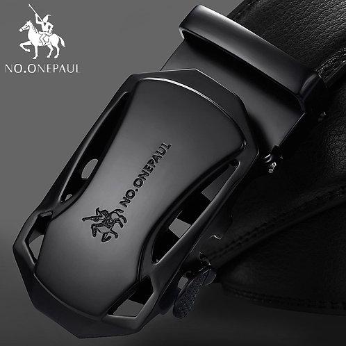 NO.ONEPAUL Brand Fashion Automatic Buckle Black Genuine Leather