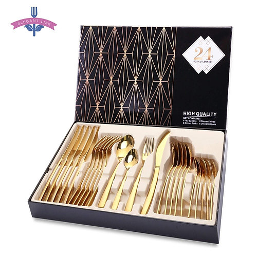 24PCS Gold Tableware Cutlery Dinner Set Cutlery Set Dishes Knives Forks