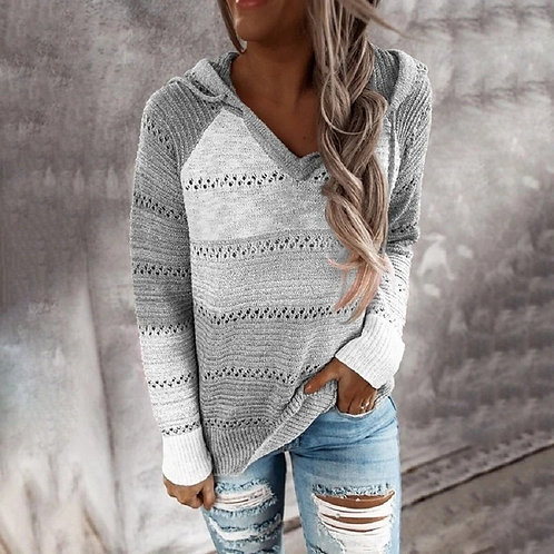 2020 Autumn v Neck Patchwork Hooded Sweater Women Casual