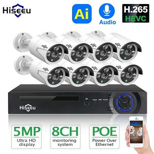 Hiseeu H.265 8CH 5MP POE Security Camera System Kit AI Face