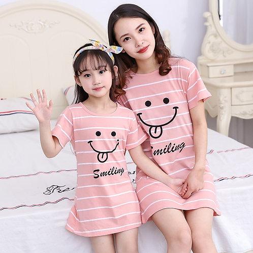Summer Girls Nightgown Pajamas Kids Short Sleeved Nightdress