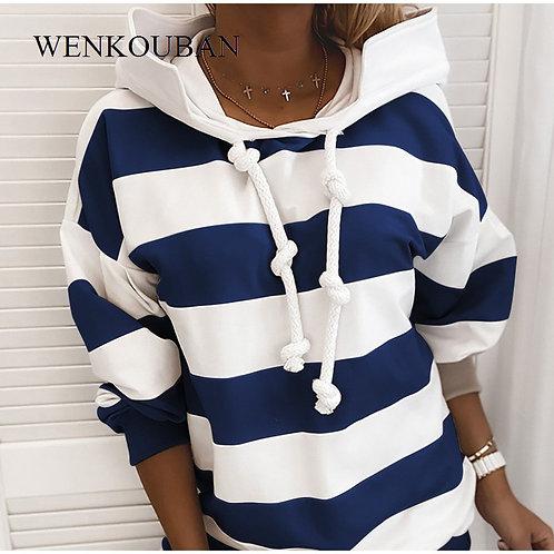 Autumn Oversize Women's Hoodie 2020 Casual Stripe Loose