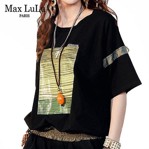 Max LuLu 2020 Summer New Fashion Style Ladies Black Printed Tee Shirts Womens