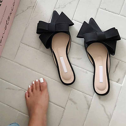 2020 Spring and Summer Women's Shoes Korean Satin Big Bow