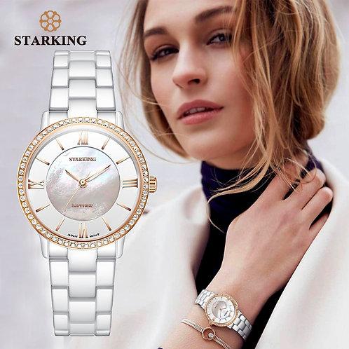 STARKING Brand Luxury Women Watches White Ceramic Diamond Ladies