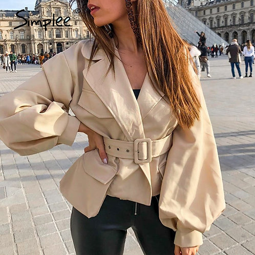 Simplee Lantern Sleeve Short Jackets Coats Women Notched