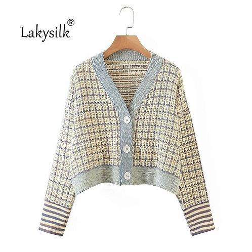 Elegant Plaid Sweater Cardigan Women Long Sleeve Knitted Soft