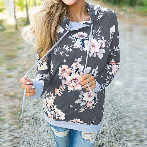 2020 Autumn Floral Printed Sweatshirt for Women Winter Hooded