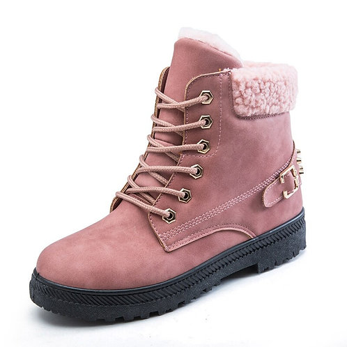 Women's Ankle Boots Fur Snow Boots Pink Black Fluff Buckle