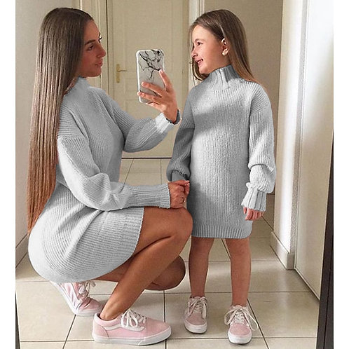 2020 New Baby Girl Clothes Mom Winter Clothes Solid Knitted